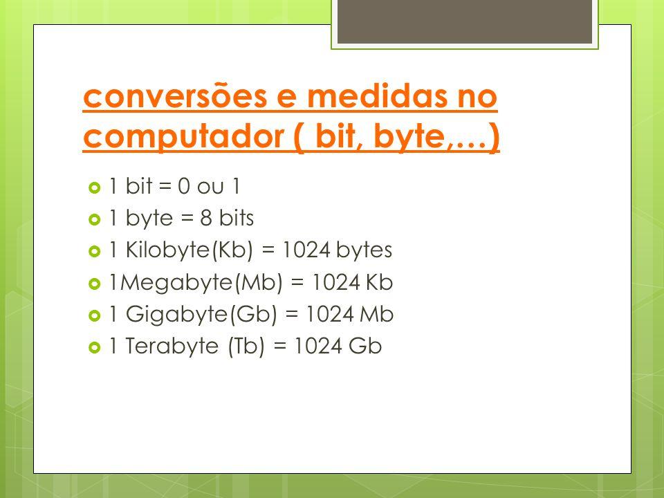 conversões e medidas no computador ( bit, byte,…)  1 bit = 0 ou 1  1 byte = 8 bits  1 Kilobyte(Kb) = 1024 bytes  1Megabyte(Mb) = 1024 Kb  1 Gigab