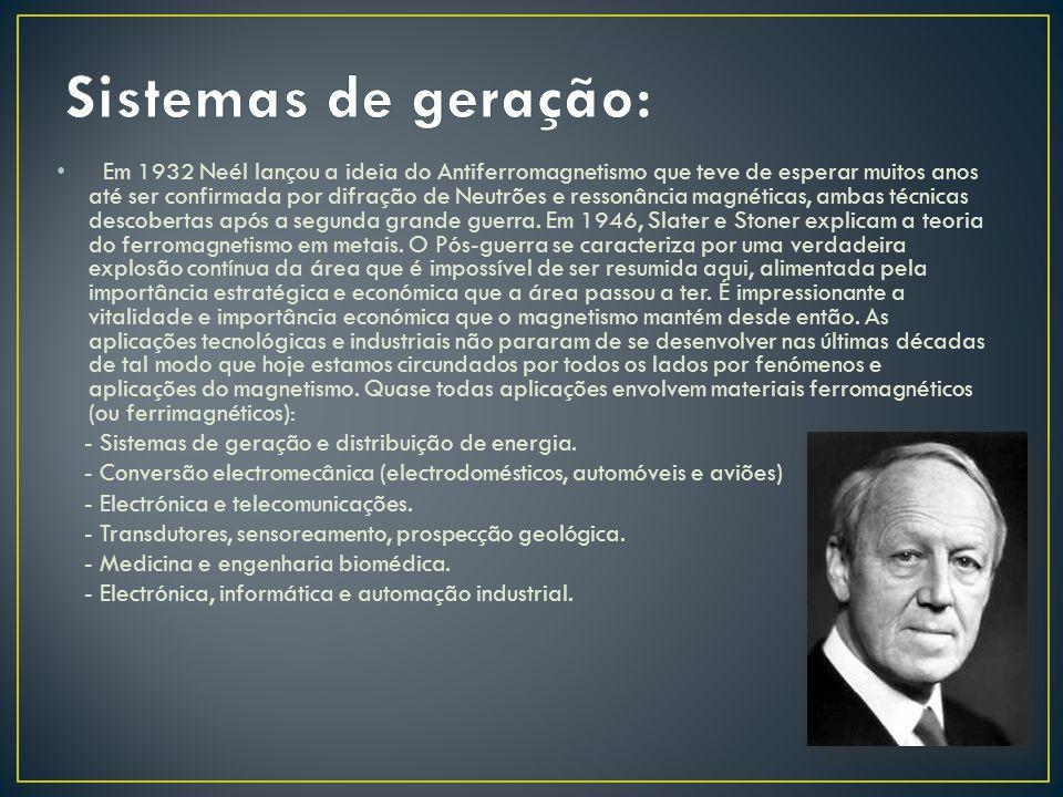 Em 1932 Neél lançou a ideia do Antiferromagnetismo que teve de esperar muitos anos até ser confirmada por difração de Neutrões e ressonância magnética