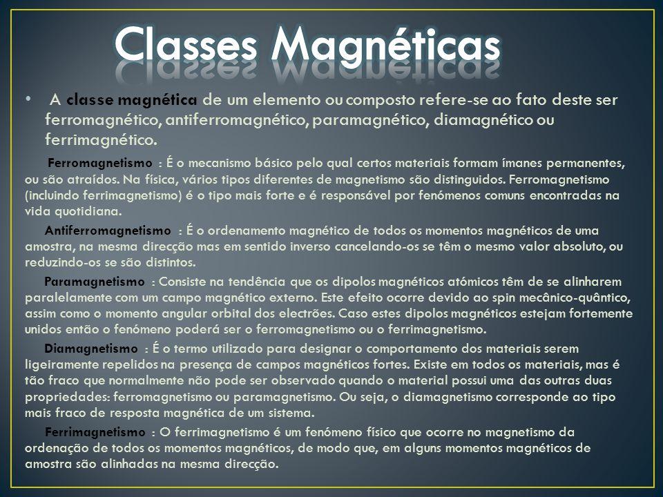 A classe magnética de um elemento ou composto refere-se ao fato deste ser ferromagnético, antiferromagnético, paramagnético, diamagnético ou ferrimagn