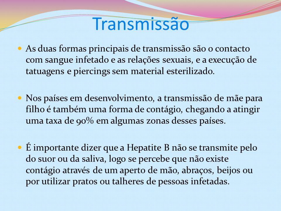 Transmissão As duas formas principais de transmissão são o contacto com sangue infetado e as relações sexuais, e a execução de tatuagens e piercings s