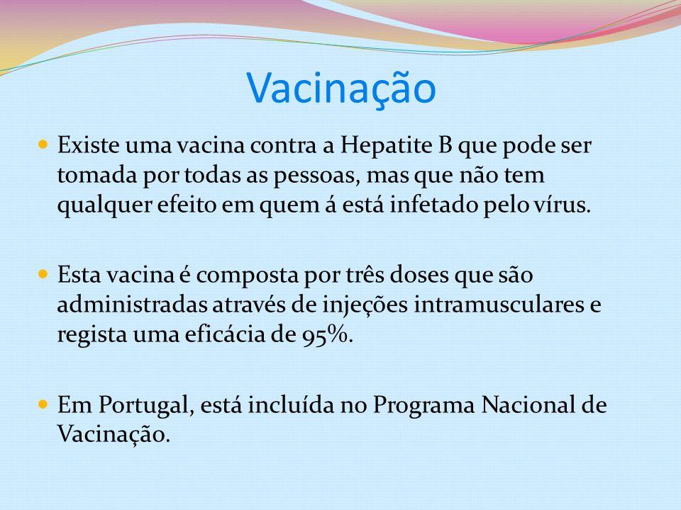 Vacinação Existe uma vacina contra a Hepatite B que pode ser tomada por todas as pessoas, mas que não tem qualquer efeito em quem á está infetado pelo