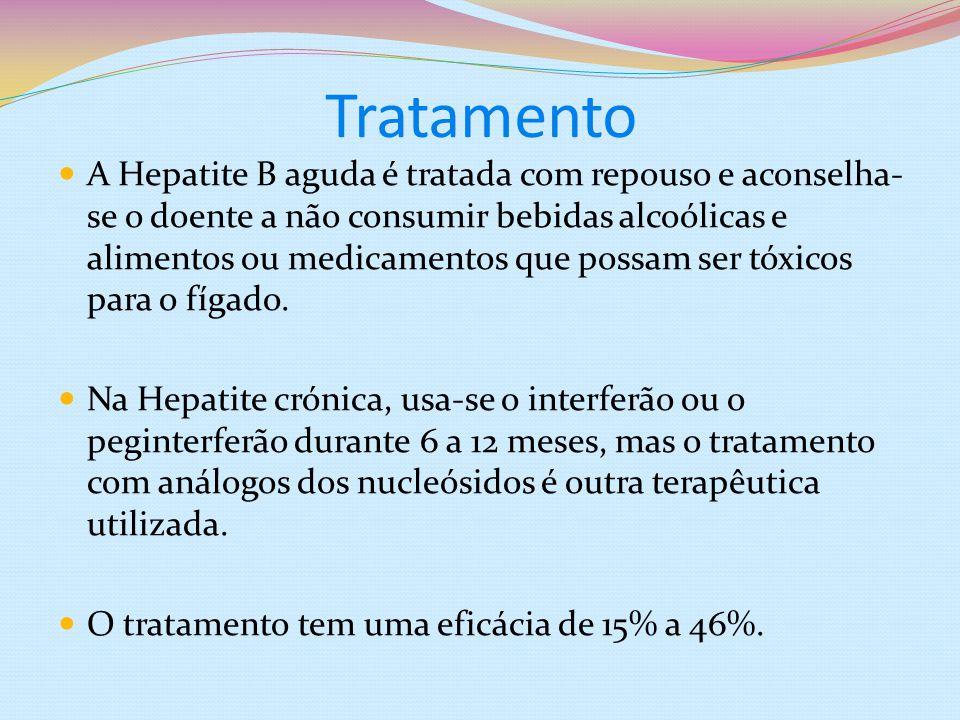 Tratamento A Hepatite B aguda é tratada com repouso e aconselha- se o doente a não consumir bebidas alcoólicas e alimentos ou medicamentos que possam