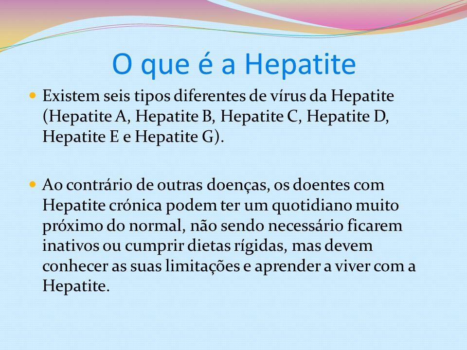 O que é a Hepatite Existem seis tipos diferentes de vírus da Hepatite (Hepatite A, Hepatite B, Hepatite C, Hepatite D, Hepatite E e Hepatite G). Ao co