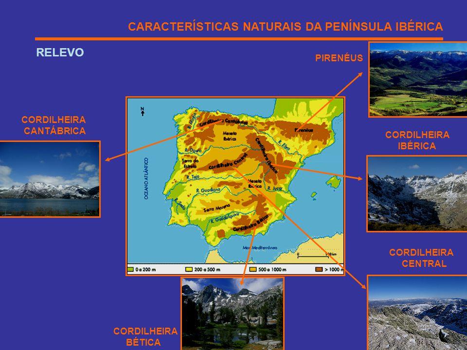 CARACTERÍSTICAS NATURAIS DA PENÍNSULA IBÉRICA RELEVO CORDILHEIRA CENTRAL CORDILHEIRA BÉTICA CORDILHEIRA CANTÁBRICA CORDILHEIRA IBÉRICA PIRENÉUS