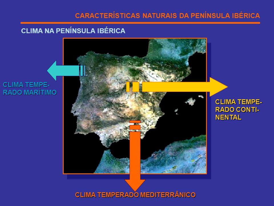 CARACTERÍSTICAS NATURAIS DA PENÍNSULA IBÉRICA CLIMA NA PENÍNSULA IBÉRICA CLIMA TEMPE- RADO MARÍTIMO CLIMA TEMPERADO MEDITERRÂNICO CLIMA TEMPE- RADO CO