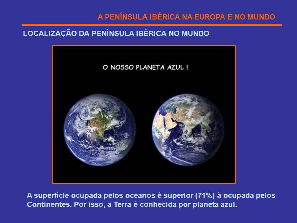 A PENÍNSULA IBÉRICA NA EUROPA E NO MUNDO LOCALIZAÇÃO DA PENÍNSULA IBÉRICA NO MUNDO A superfície ocupada pelos oceanos é superior (71%) à ocupada pelos