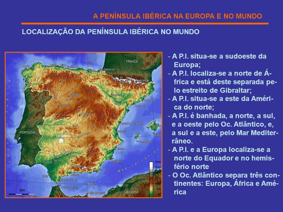 A PENÍNSULA IBÉRICA NA EUROPA E NO MUNDO LOCALIZAÇÃO DA PENÍNSULA IBÉRICA NO MUNDO - A P.I. situa-se a sudoeste da Europa; - A P.I. localiza-se a nort