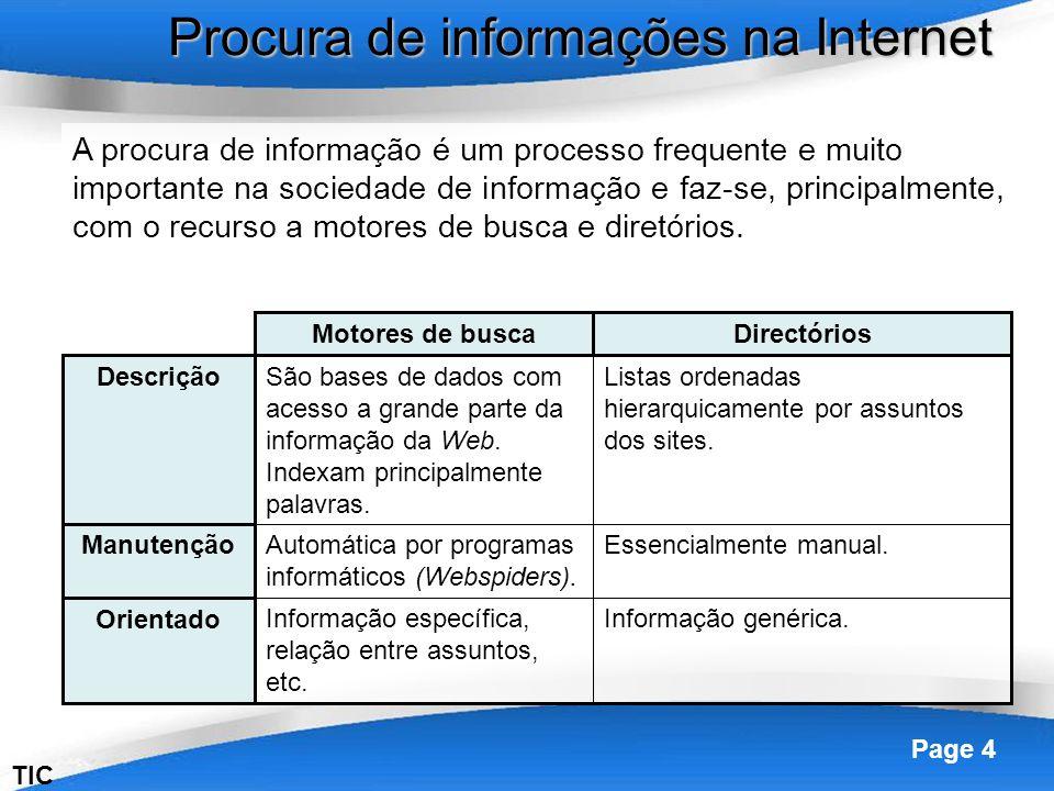 Powerpoint Templates Page 4 Procura de informações na Internet TIC A procura de informação é um processo frequente e muito importante na sociedade de informação e faz-se, principalmente, com o recurso a motores de busca e diretórios.