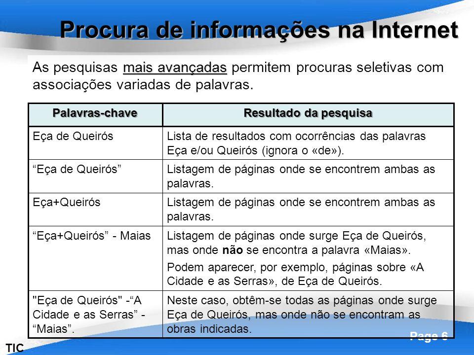 Powerpoint Templates Page 6 TIC mais avançadas As pesquisas mais avançadas permitem procuras seletivas com associações variadas de palavras. Procura d