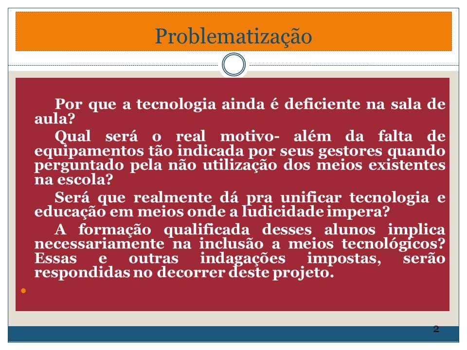 Problematização Por que a tecnologia ainda é deficiente na sala de aula? Qual será o real motivo- além da falta de equipamentos tão indicada por seus