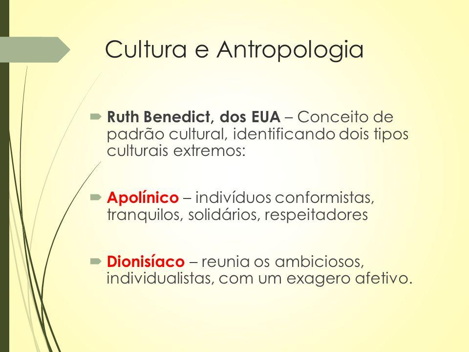 Cultura e Antropologia  Ruth Benedict, dos EUA – Conceito de padrão cultural, identificando dois tipos culturais extremos:  Apolínico – indivíduos c