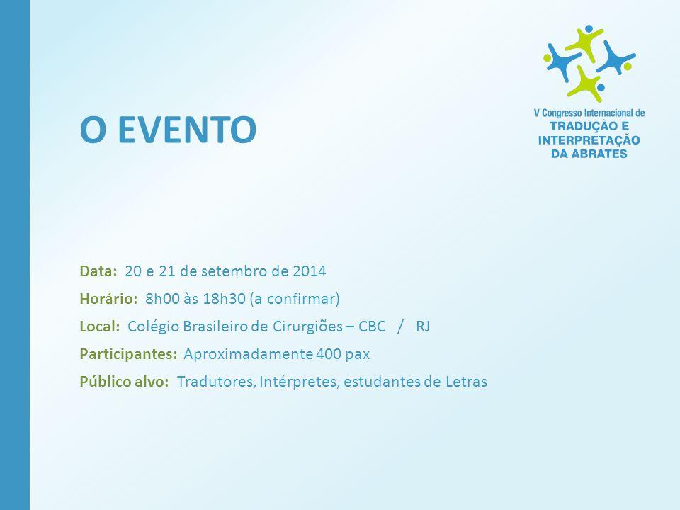 Data: 20 e 21 de setembro de 2014 Horário: 8h00 às 18h30 (a confirmar) Local: Colégio Brasileiro de Cirurgiões – CBC / RJ Participantes: Aproximadamen