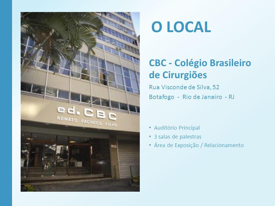 O LOCAL CBC - Colégio Brasileiro de Cirurgiões Rua Visconde de Silva, 52 Botafogo - Rio de Janeiro - RJ Auditório Principal 3 salas de palestras Área