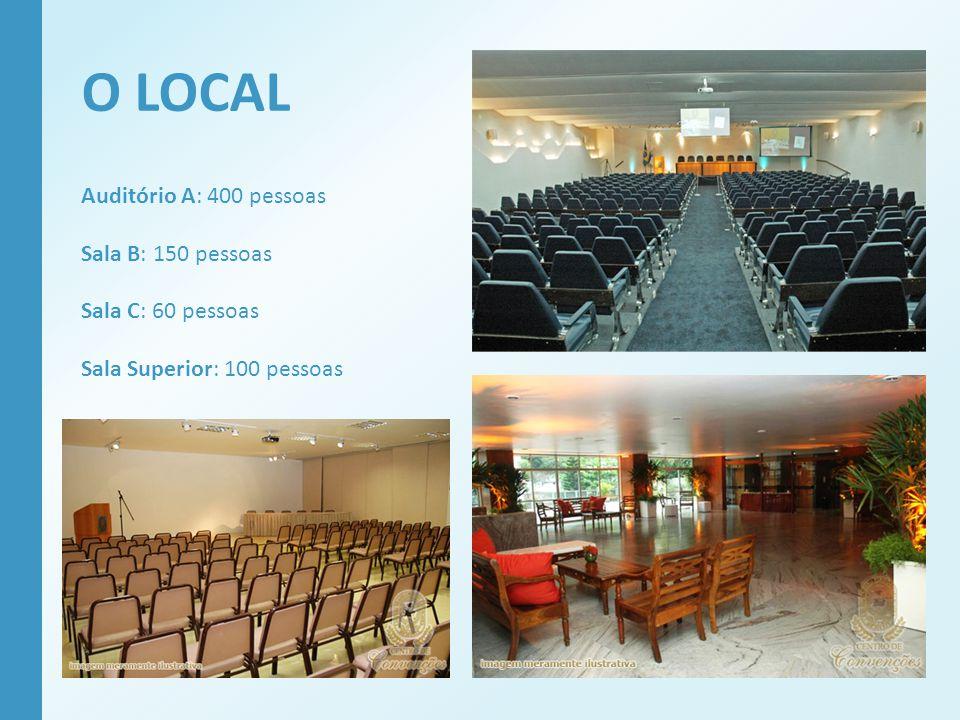 O LOCAL Auditório A: 400 pessoas Sala B: 150 pessoas Sala C: 60 pessoas Sala Superior: 100 pessoas
