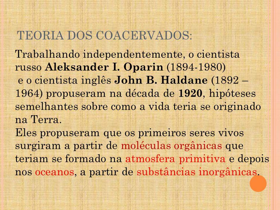 TEORIA DOS COACERVADOS: Trabalhando independentemente, o cientista russo Aleksander I.