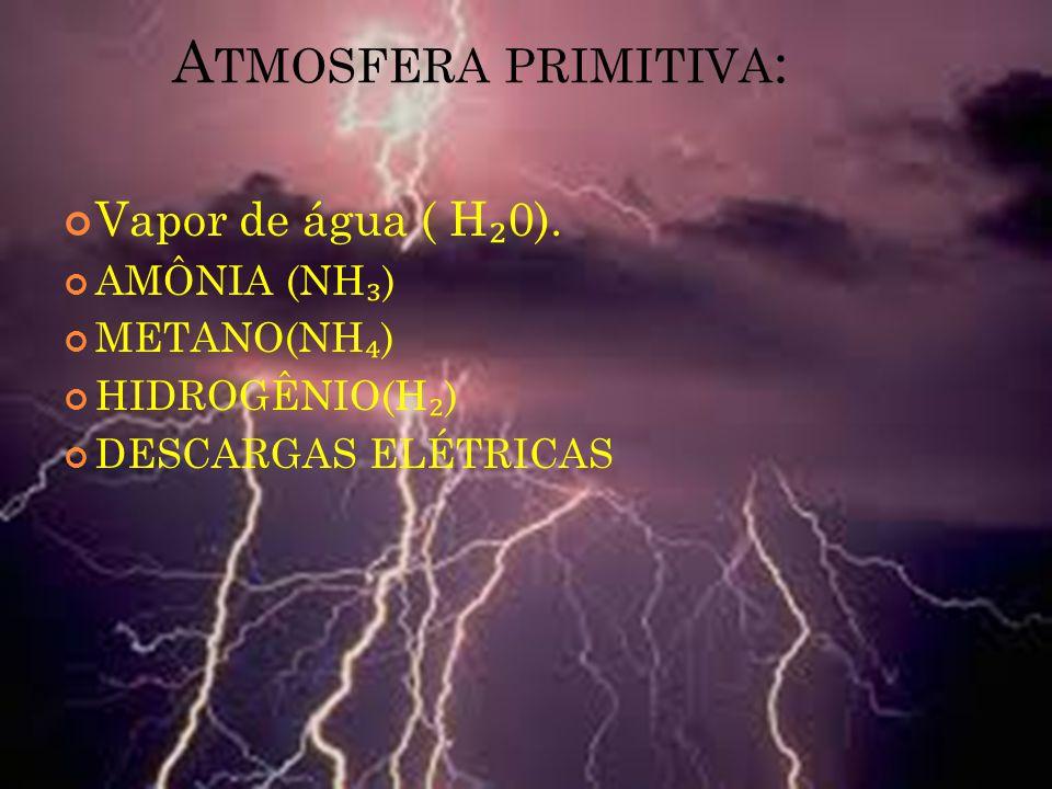 Vapor de água ( H ₂ 0). AMÔNIA (NH ₃ ) METANO(NH ₄ ) HIDROGÊNIO(H ₂ ) DESCARGAS ELÉTRICAS