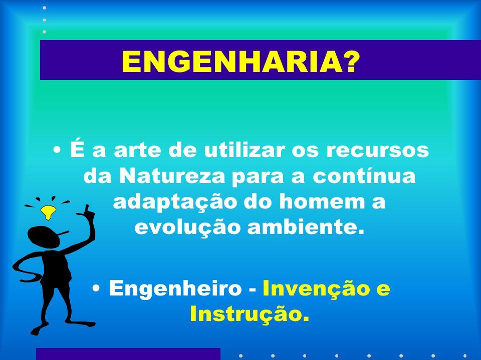 ENGENHARIA? É a arte de utilizar os recursos da Natureza para a contínua adaptação do homem a evolução ambiente. Engenheiro - Invenção e Instrução.