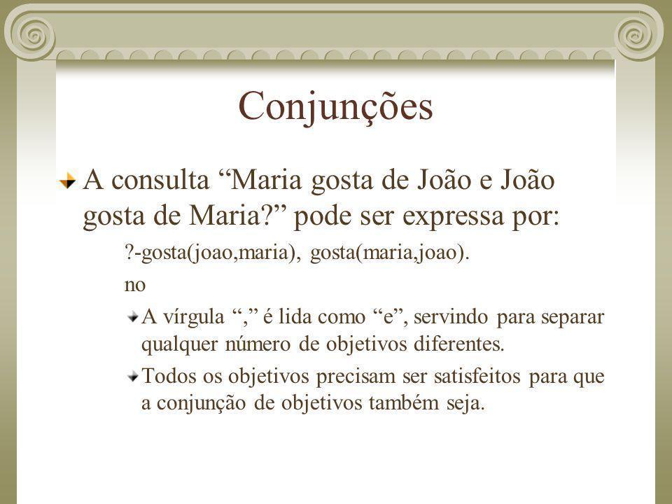 """Conjunções A consulta """"Maria gosta de João e João gosta de Maria?"""" pode ser expressa por: ?-gosta(joao,maria), gosta(maria,joao). no A vírgula """","""" é l"""