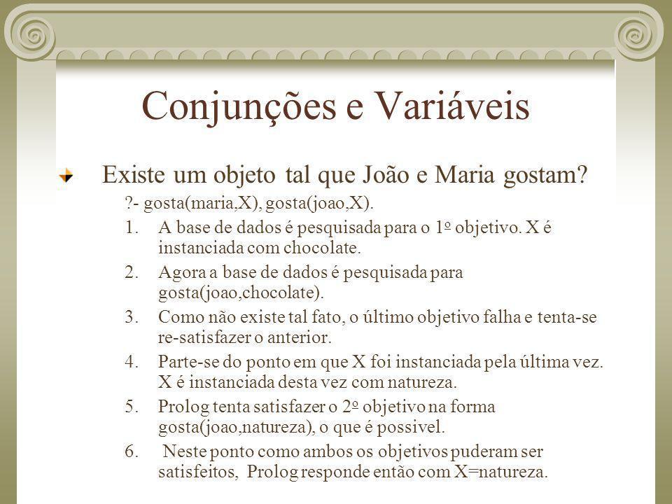 Conjunções e Variáveis Existe um objeto tal que João e Maria gostam? ?- gosta(maria,X), gosta(joao,X). 1.A base de dados é pesquisada para o 1 o objet