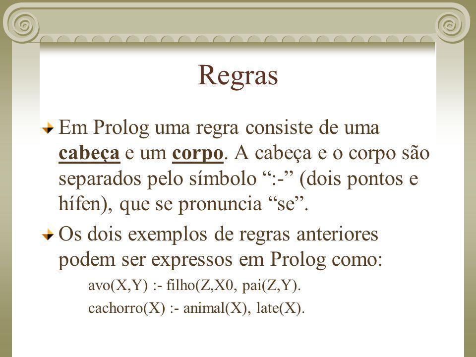 """Regras Em Prolog uma regra consiste de uma cabeça e um corpo. A cabeça e o corpo são separados pelo símbolo """":-"""" (dois pontos e hífen), que se pronunc"""