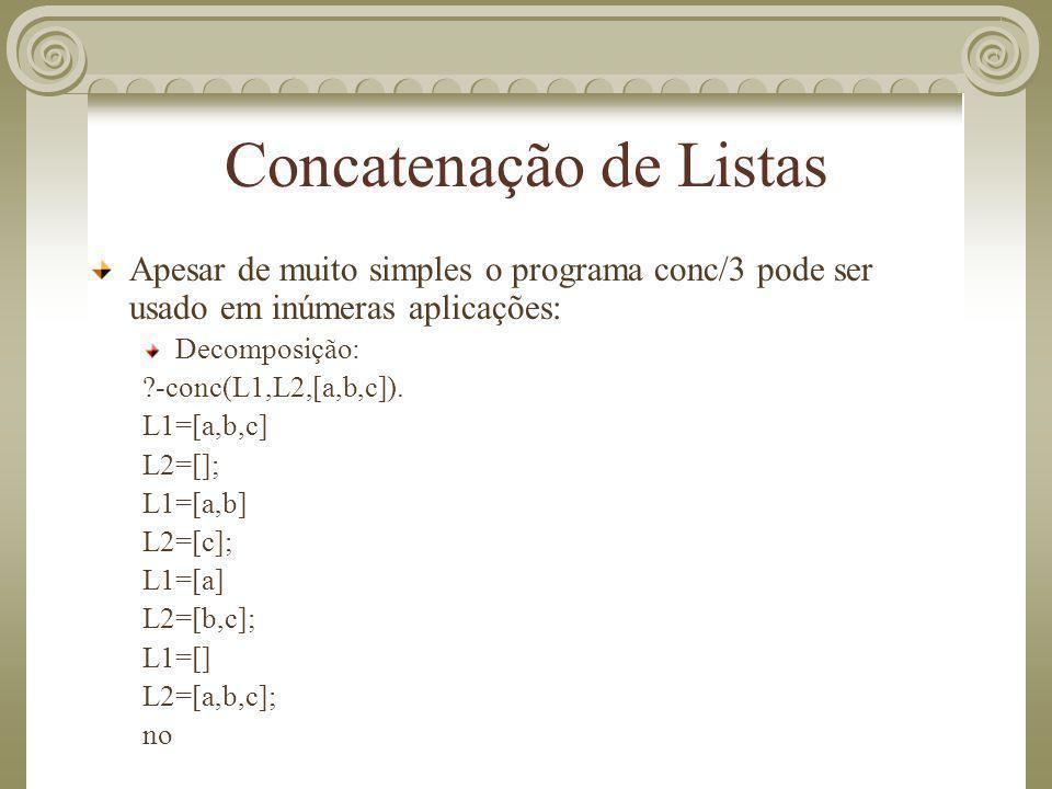 Concatenação de Listas Apesar de muito simples o programa conc/3 pode ser usado em inúmeras aplicações: Decomposição: ?-conc(L1,L2,[a,b,c]). L1=[a,b,c