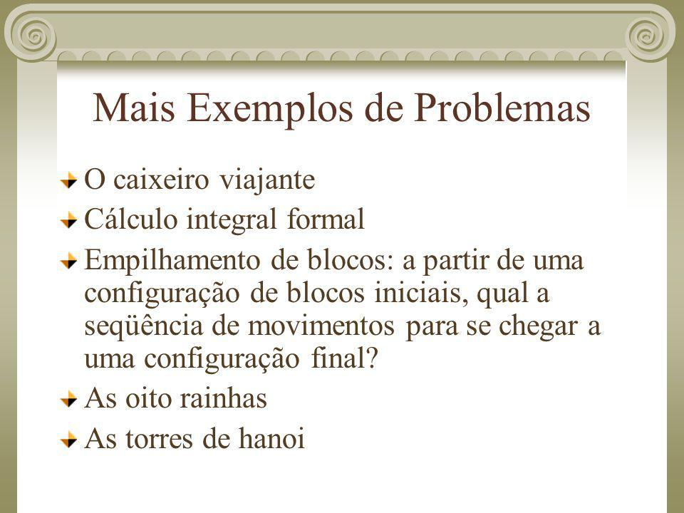 Mais Exemplos de Problemas O caixeiro viajante Cálculo integral formal Empilhamento de blocos: a partir de uma configuração de blocos iniciais, qual a