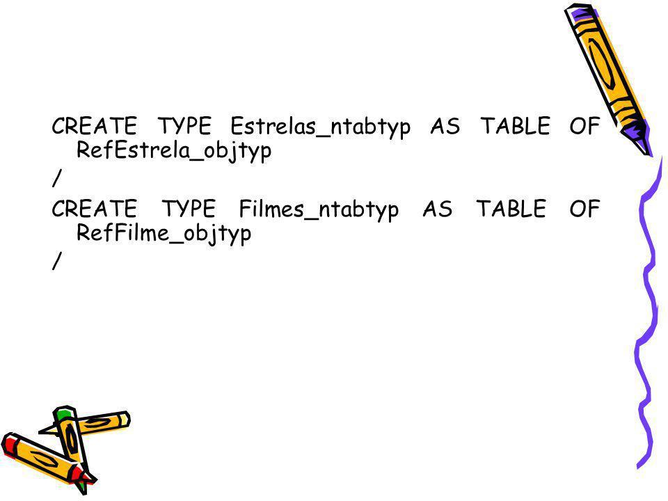 CREATE TYPE Estrelas_ntabtyp AS TABLE OF RefEstrela_objtyp / CREATE TYPE Filmes_ntabtyp AS TABLE OF RefFilme_objtyp /