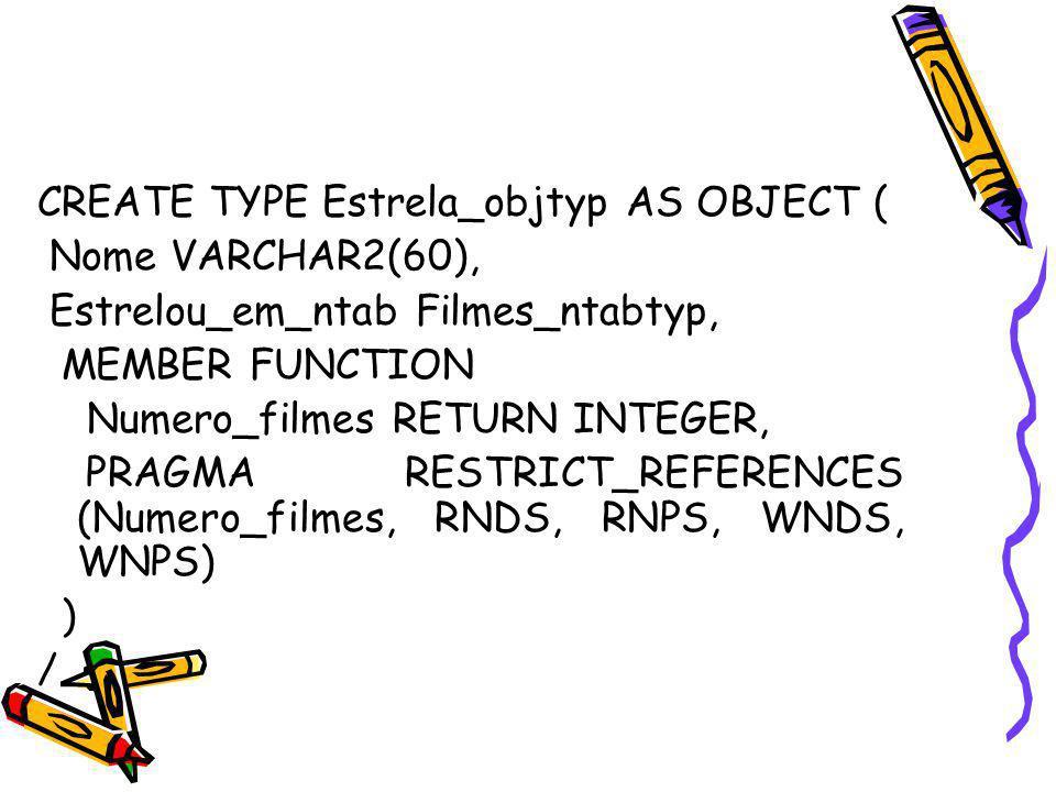 CREATE TYPE Estrela_objtyp AS OBJECT ( Nome VARCHAR2(60), Estrelou_em_ntab Filmes_ntabtyp, MEMBER FUNCTION Numero_filmes RETURN INTEGER, PRAGMA RESTRI
