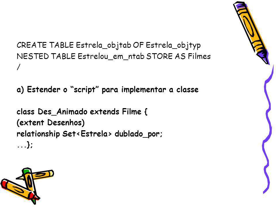 """CREATE TABLE Estrela_objtab OF Estrela_objtyp NESTED TABLE Estrelou_em_ntab STORE AS Filmes / a) Estender o """"script"""" para implementar a classe class D"""