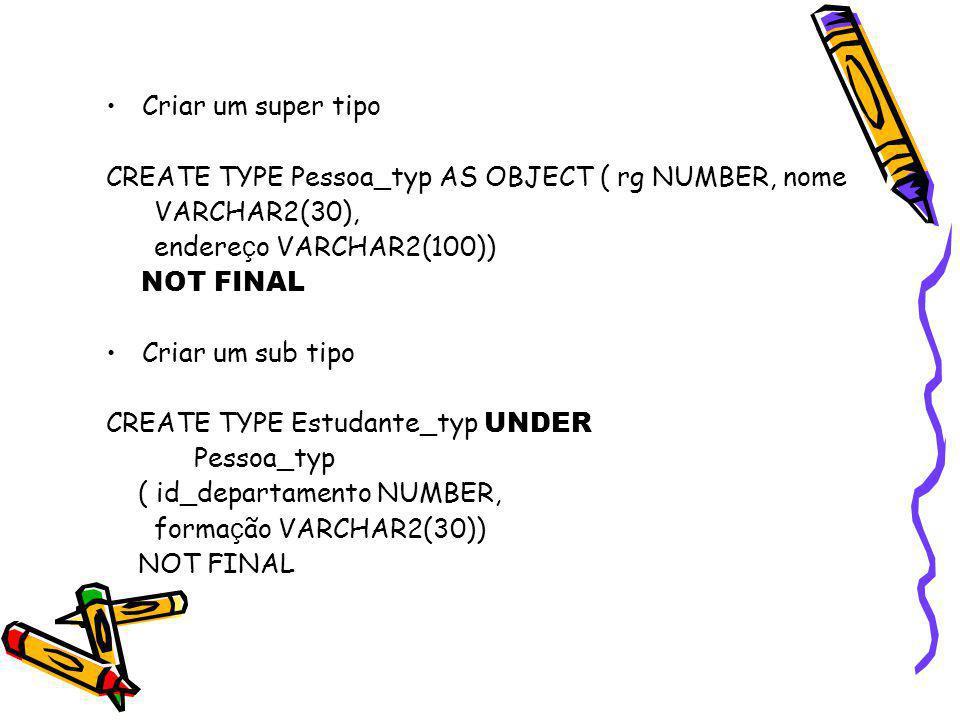 Criar um super tipo CREATE TYPE Pessoa_typ AS OBJECT ( rg NUMBER, nome VARCHAR2(30), endere ç o VARCHAR2(100)) NOT FINAL Criar um sub tipo CREATE TYPE