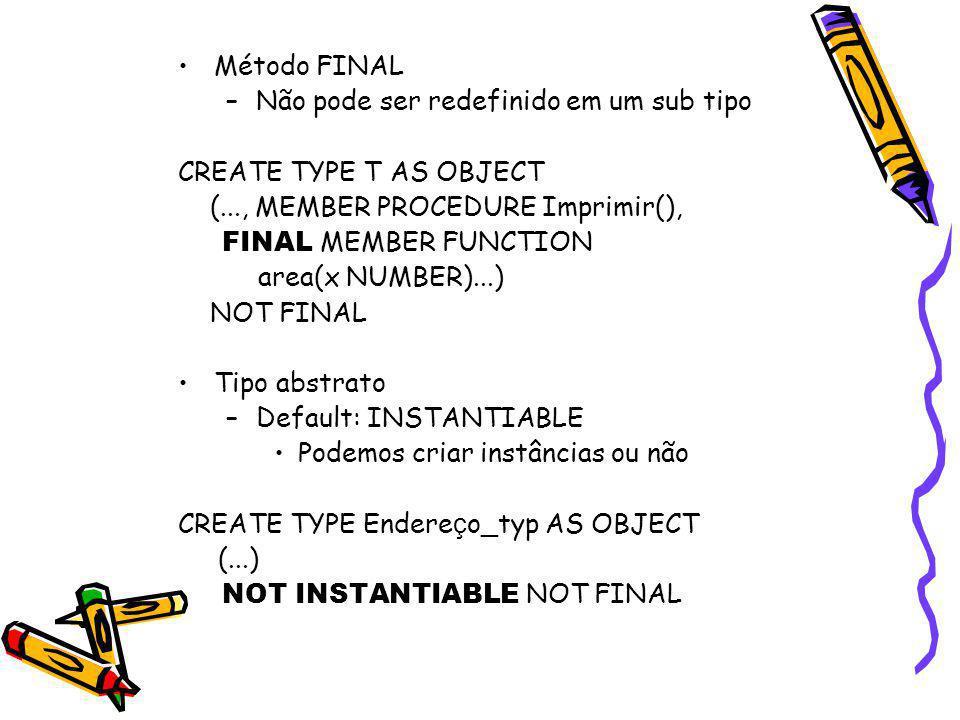 Hierarquia de Tipos e Object Tables Como estudante (estudante parcial) (empregado) é uma pessoa –Estudantes, estudantes parciais e empregados podem ser criados em Pessoa_tab –Pessoas em Pessoa_tab, empregados em Empregado_tab, estudantes em Estudante_tab, estudantes parciais em Estudante_Parcial_tab –Outra alternativa: pessoas em Pessoa_tab, empregados em Empregado_tab, estudantes e estudantes parciais em Estudante_tab –Ou a alternativa 'normal': somente os tipos das folhas da hierarquia são instanciáveis