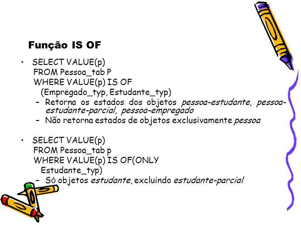 SELECT VALUE(p) FROM Pessoa_tab P WHERE VALUE(p) IS OF (Empregado_typ, Estudante_typ) –Retorna os estados dos objetos pessoa-estudante, pessoa- estuda