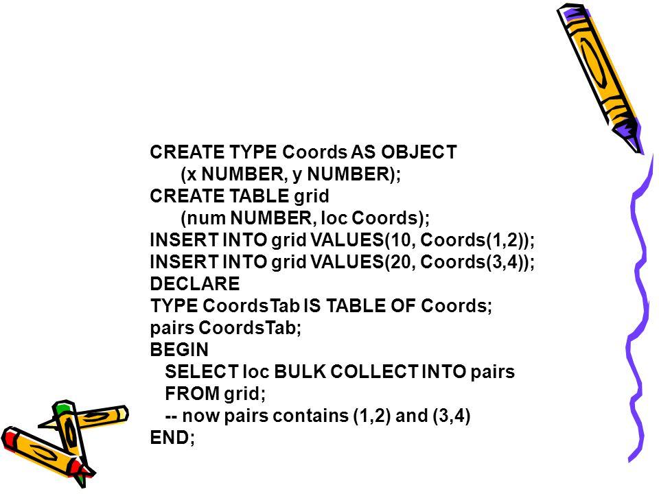 Restrições Note que BULK COLLECT INTO tem uma limitação: se a lista do SELECT tem i elementos (p.e., empno, ename ), então devem ser declaradas i variáveis do tipo coleção (p.e., enums, names )