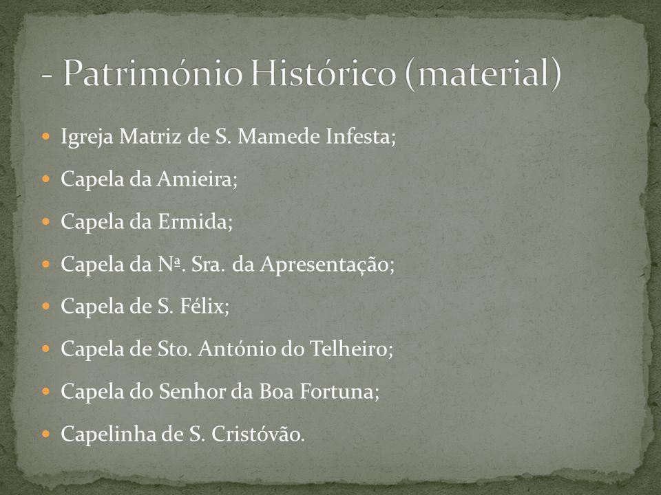 Igreja Matriz de S.Mamede Infesta; Capela da Amieira; Capela da Ermida; Capela da Nª.