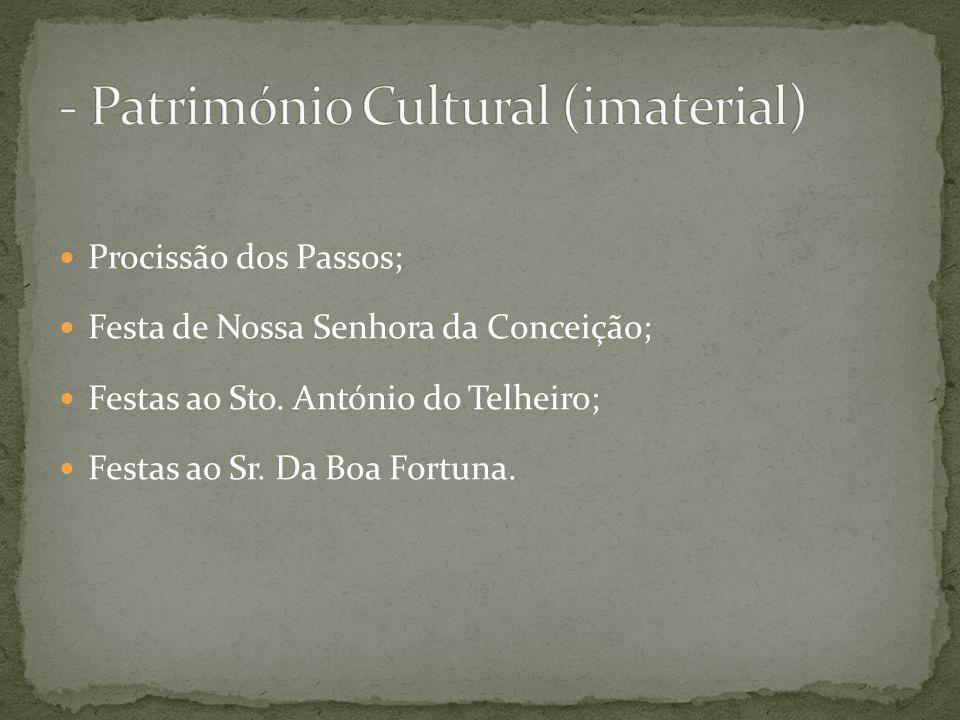 Procissão dos Passos; Festa de Nossa Senhora da Conceição; Festas ao Sto. António do Telheiro; Festas ao Sr. Da Boa Fortuna.