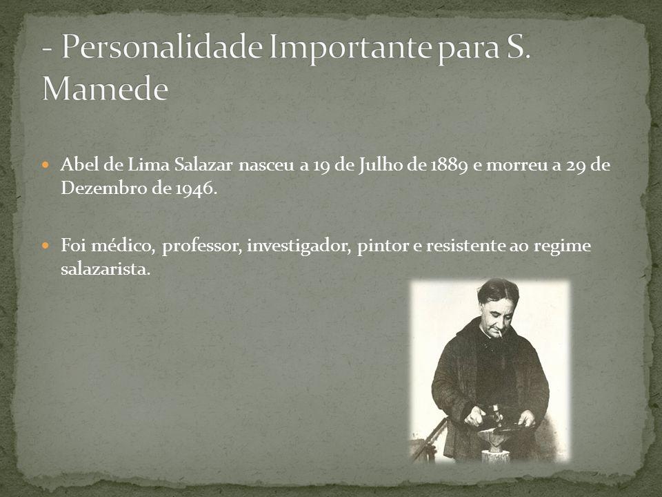 Abel de Lima Salazar nasceu a 19 de Julho de 1889 e morreu a 29 de Dezembro de 1946.