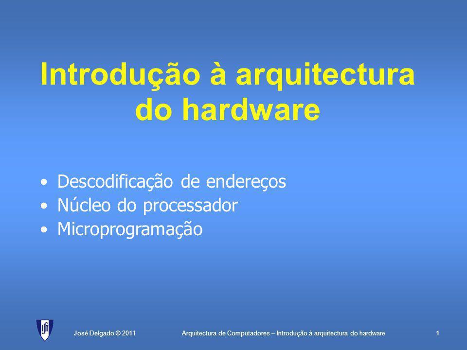 Arquitectura de Computadores – Introdução à arquitectura do hardware1José Delgado © 2011 Introdução à arquitectura do hardware Descodificação de endereços Núcleo do processador Microprogramação