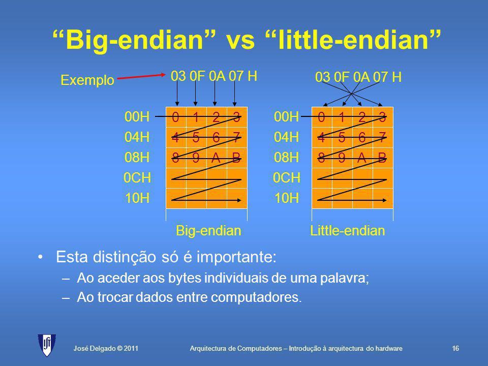 Arquitectura de Computadores – Introdução à arquitectura do hardware16José Delgado © 2011 Big-endian vs little-endian Esta distinção só é importante: –Ao aceder aos bytes individuais de uma palavra; –Ao trocar dados entre computadores.