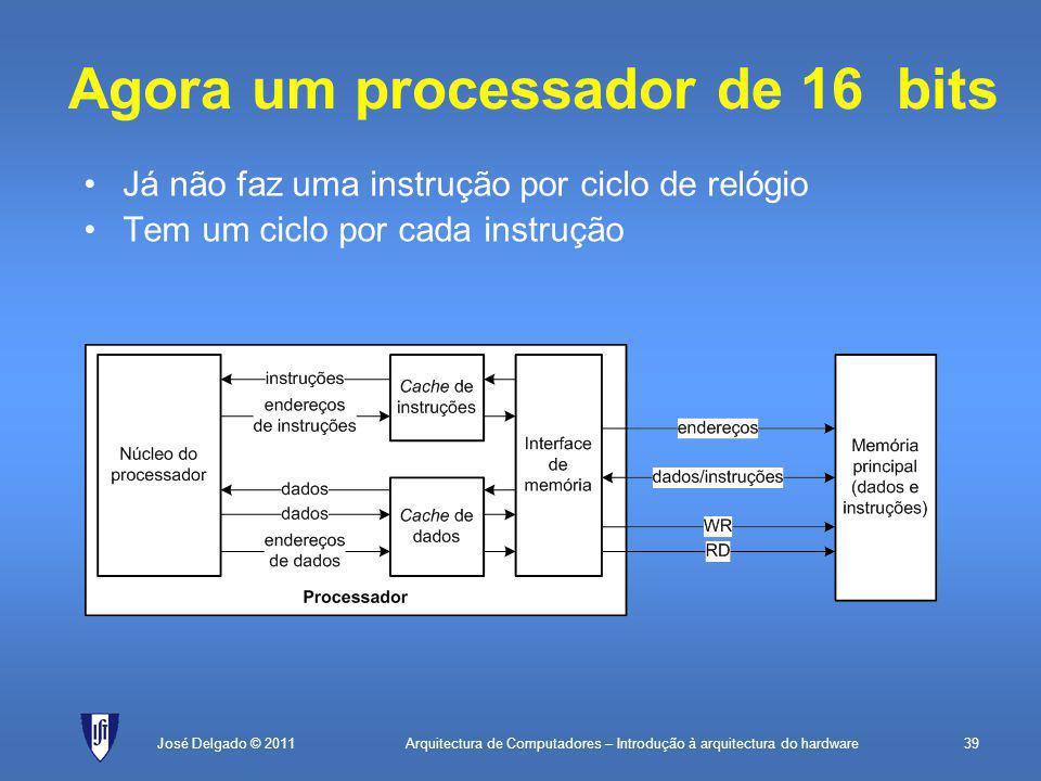 Arquitectura de Computadores – Introdução à arquitectura do hardware39José Delgado © 2011 Agora um processador de 16 bits Já não faz uma instrução por ciclo de relógio Tem um ciclo por cada instrução