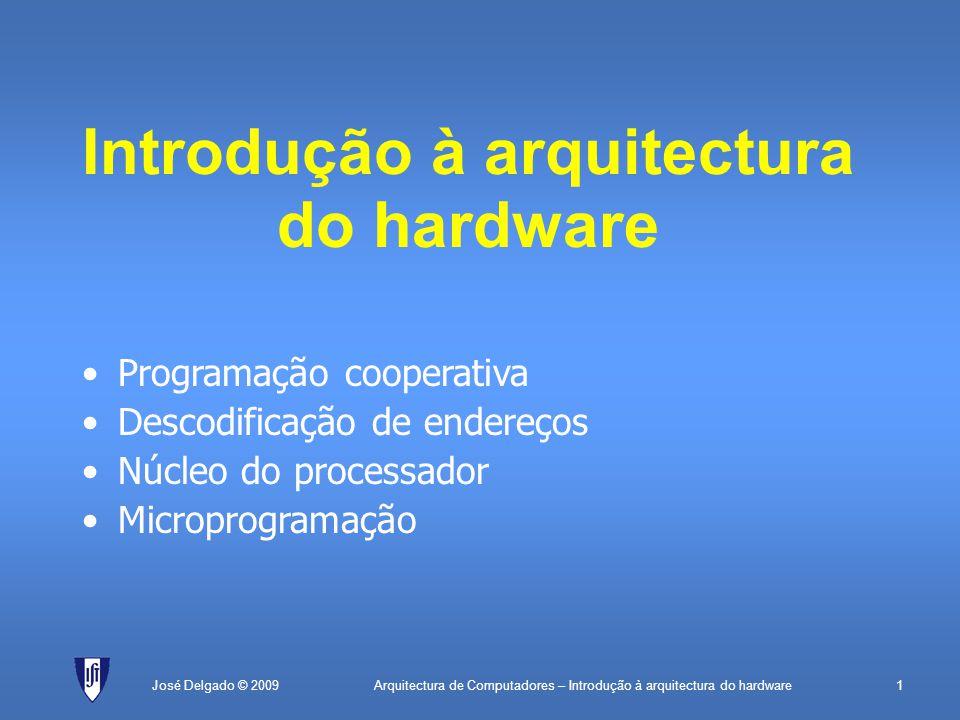 Arquitectura de Computadores – Introdução à arquitectura do hardware1José Delgado © 2009 Introdução à arquitectura do hardware Programação cooperativa Descodificação de endereços Núcleo do processador Microprogramação