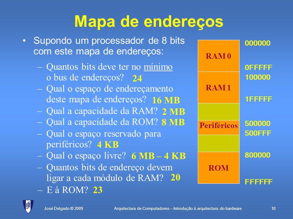 Arquitectura de Computadores – Introdução à arquitectura do hardware10José Delgado © 2009 Supondo um processador de 8 bits com este mapa de endereços: Mapa de endereços ROM Periféricos RAM 1 RAM 0 000000 0FFFFF 100000 1FFFFF FFFFFF 800000 500000 500FFF –Quantos bits deve ter no mínimo o bus de endereços.