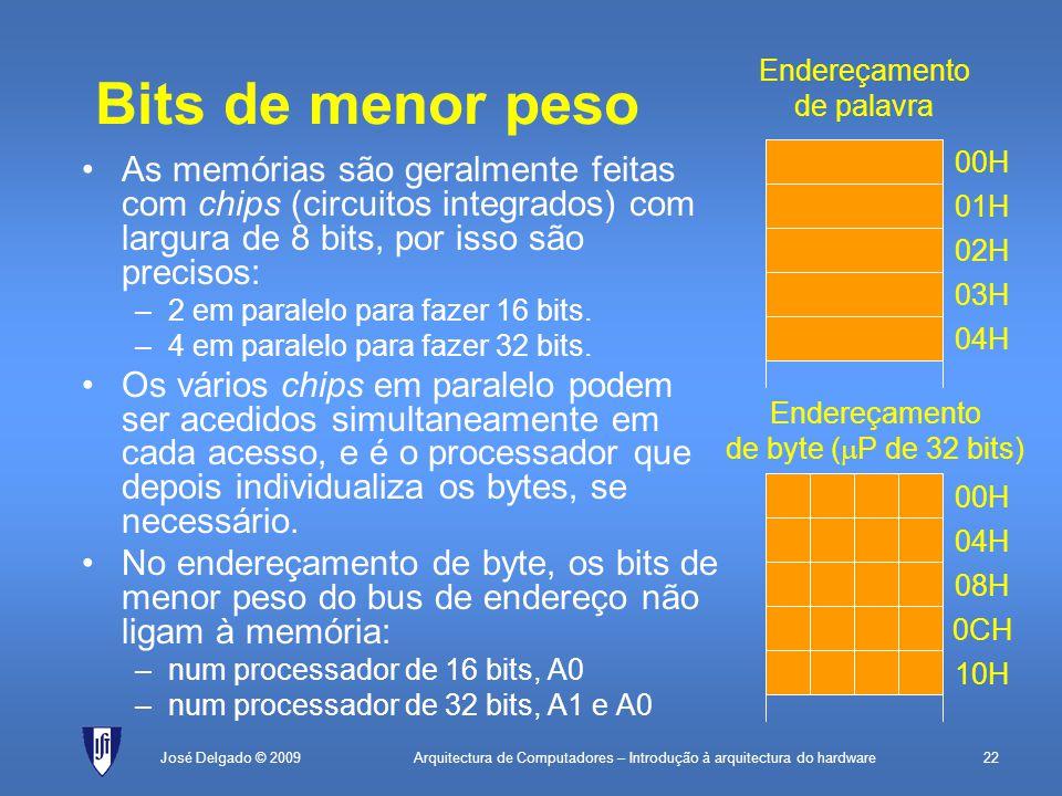 Arquitectura de Computadores – Introdução à arquitectura do hardware22José Delgado © 2009 Bits de menor peso As memórias são geralmente feitas com chips (circuitos integrados) com largura de 8 bits, por isso são precisos: –2 em paralelo para fazer 16 bits.