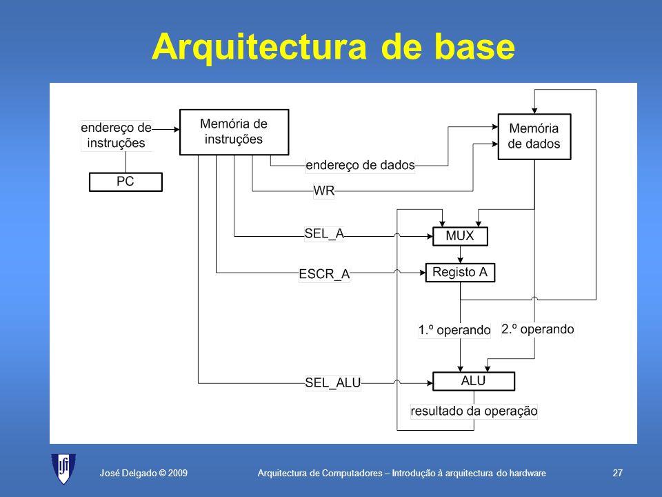 Arquitectura de Computadores – Introdução à arquitectura do hardware27 Arquitectura de base José Delgado © 2009