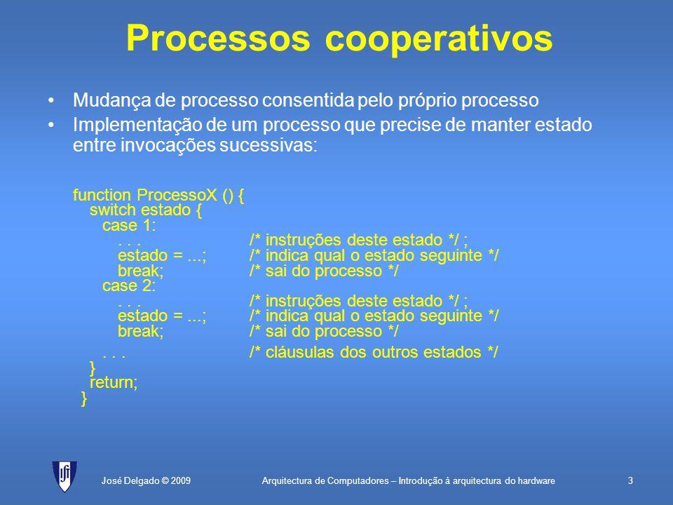 Arquitectura de Computadores – Introdução à arquitectura do hardware3José Delgado © 2009 Processos cooperativos Mudança de processo consentida pelo próprio processo Implementação de um processo que precise de manter estado entre invocações sucessivas: function ProcessoX () { switch estado { case 1:...