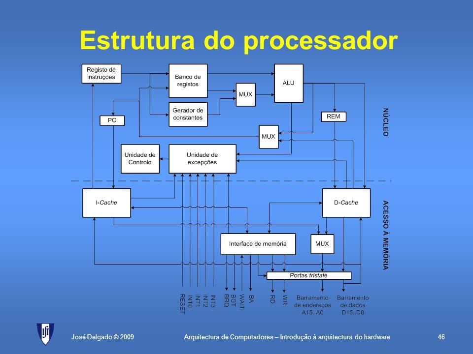 Arquitectura de Computadores – Introdução à arquitectura do hardware46José Delgado © 2009 Estrutura do processador