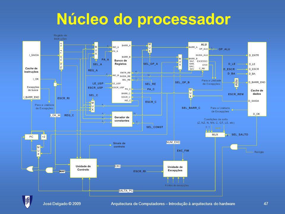 Arquitectura de Computadores – Introdução à arquitectura do hardware47José Delgado © 2009 Núcleo do processador