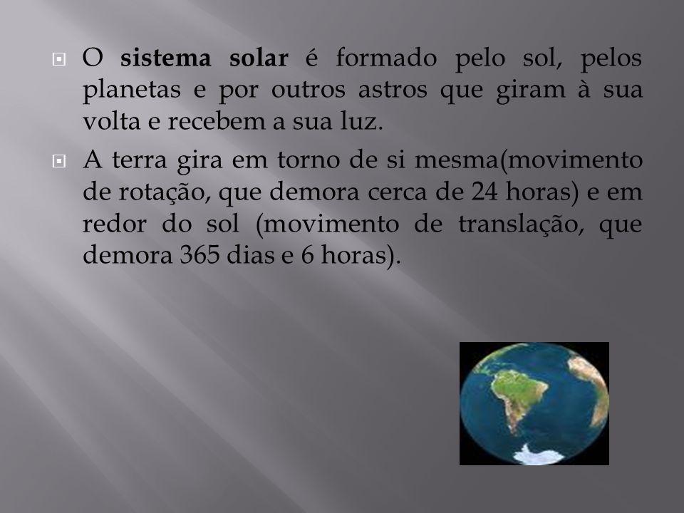  O sistema solar é formado pelo sol, pelos planetas e por outros astros que giram à sua volta e recebem a sua luz.  A terra gira em torno de si mesm