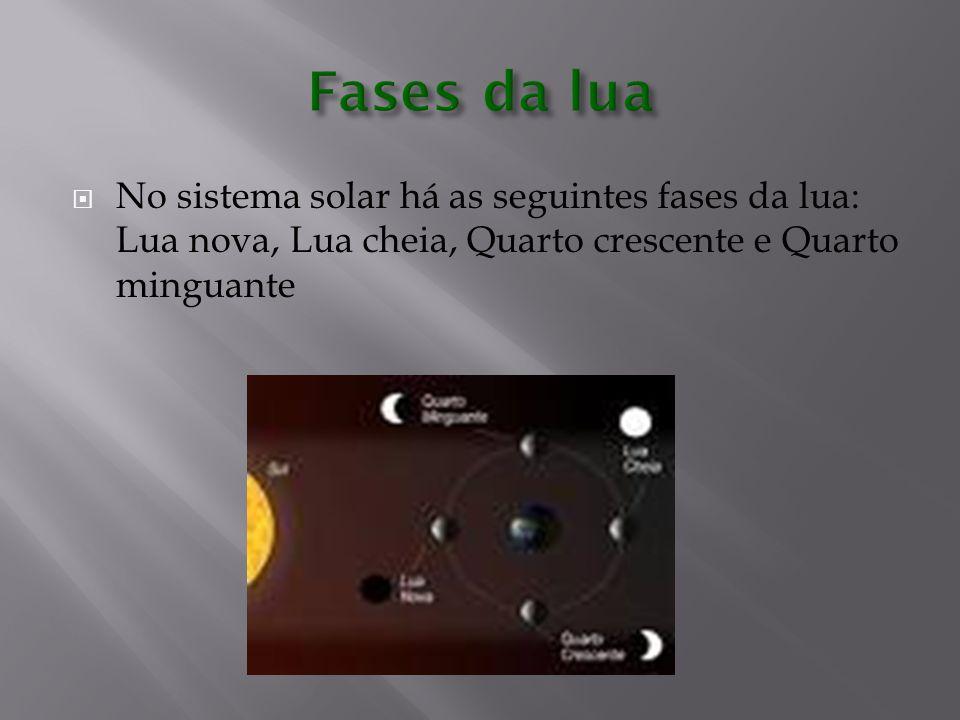  No sistema solar há as seguintes fases da lua: Lua nova, Lua cheia, Quarto crescente e Quarto minguante