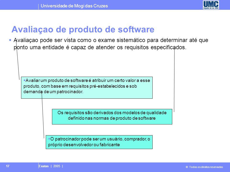 Universidade de Mogi das Cruzes © Todos os direitos reservados Exatas | 2005 | 17 Avaliaçao de produto de software  Avaliaçao pode ser vista como o e
