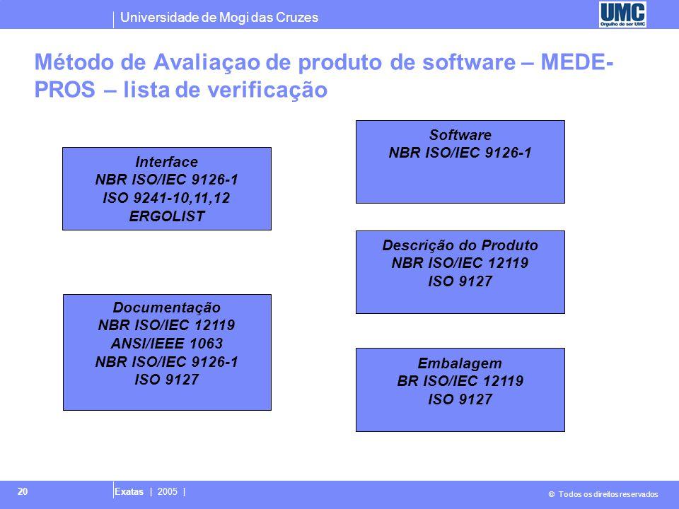 Universidade de Mogi das Cruzes © Todos os direitos reservados Exatas | 2005 | 20 Método de Avaliaçao de produto de software – MEDE- PROS – lista de v